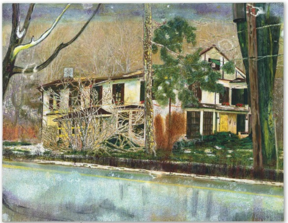 Lot 36. Peter Doig (b. 1959) Pine House (Rooms for Rent) signed twice, inscribed, titled and dated 'PETER DOIG JUL. AUG. SEPT. 94 Doig PINE HOUSE (ROOMS FOR RENT) Rooming house in Cobourg 'Christmas Flowers'' (on the reverse) oil on canvas 70 x 90 3/4 in. (180 x 230.5 cm.) Painted in 1994. Estimate on request.
