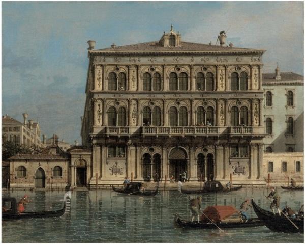 Lot 36. Giovanni Antonio Canal, il Canaletto (Venice 1697-1768) Palazzo Vendramin-Calergi, on the Grand Canal, Venice oil on canvas 15½ x 19 in. (39.5 x 48.4 cm.) Estimate: £800,000-1,200,000 ($1,251,200 - $1,876,800) Click on image to enlarge.