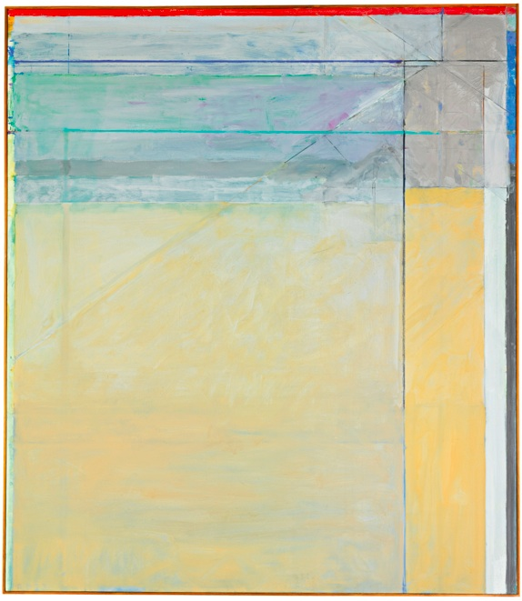 Lot 18. RICHARD DIEBENKORN 1922 - 1993 OCEAN PARK # 61 signed with initials and dated 73; signed, titled and dated 1973 on the reverse oil on canvas 93 by 81 in. 236.2 by 205.7 cm. Executed in 1973, this work will be included in the forthcoming Richard Diebenkorn Catalogue Raisonné under number 4142 (estate number RD 1476). Estimate: $8-12 milion.