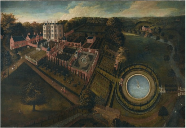 Lot 41. ENGLISH SCHOOL, CIRCA 1665 VIEW OF LLANERCH PARK, DENBIGHSHIRE oil on canvas 160 by 231.8 cm.; 63 by 91 1/4  in. Estimate: 400,000-600,000. Click on image to enlarge.