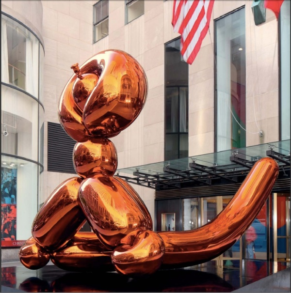Lot 42. Jeff Koons (B. 1955) Balloon Monkey (Orange) signed and dated 'Jeff Koons 2006-2013' (on the underside of the head) mirror-polished stainless steel with transparent color coating 150 x 235 x 126 in. (381 x 596.9 x 320 cm.) Executed in 2006-2013. This work is one of five unique versions (Blue, Magenta, Orange, Red, Yellow). Estimate: $20-30 million.