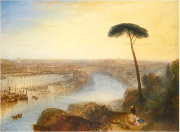Lot 44. JOSEPH MALLORD WILLIAM TURNER, R.A. LONDON 1775 - 1851 ROME, FROM MOUNT AVENTINE oil on canvas, unlined 92.7 by 125.7 cm.; 36 1/2  by 49 1/2  in. Estimate: 15-20 million. Click on image to enlarge.