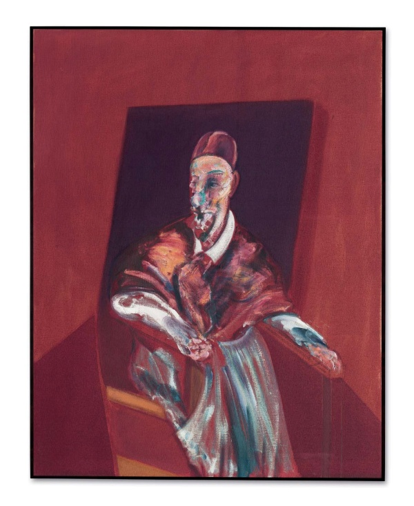 Lot 45. Francis Bacon (1909-1992) Seated Figure oil on canvas 60 1/8 x 47 in. (152.8 x 119.5 cm.) Painted in 1960. Estimate: $40-60 million. Click on image to enlarge.