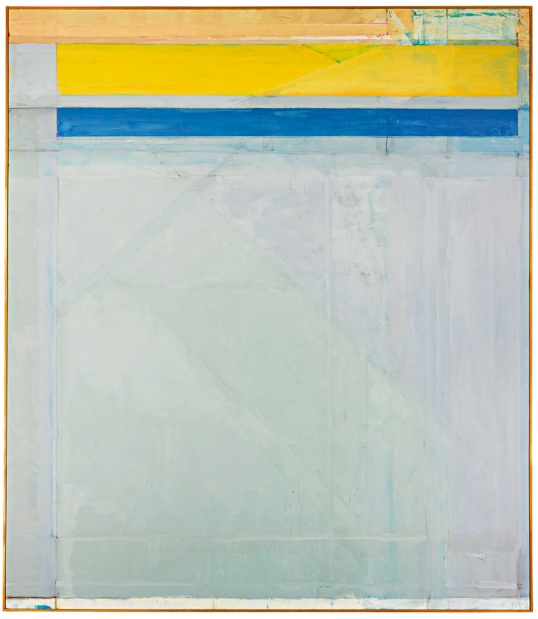 Lot 23. RICHARD DIEBENKORN 1922 - 1993 OCEAN PARK #50 signed with initials and dated 72; signed, titled and dated 1972 on the reverse oil on canvas 93 by 81 in. 236.2 by 205.7 cm. Executed in 1972, this work will be included in the forthcoming Richard Diebenkorn Catalogue Raisonné under number 4114 (estate number RD 1465). Estimate: $7-9 million.