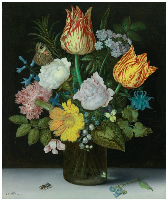 Lot 33. AMBROSIUS BOSSCHAERT THE ELDER ANTWERP 1573 - 1621 THE HAGUE STILL LIFE OF VARIEGATED TULIPS, ROSES, A HYACINTH, A PRIMROSE, A VIOLET, FORGET-ME-NOTS, A COLUMBINE, LILY OF THE VALLEY, A CYCLAMEN, A MARIGOLD AND A CARNATION ALL IN A GLASS VASE, WITH A BUTTERFLY AND HOUSEFLY signed in monogram and dated lower left 16 AB (in ligature) 0[6 or 8, see note] oil on copper 8 1/4 by 6 3/4 in. 21 by 17.2 cm. Estimate: $4-6 million.