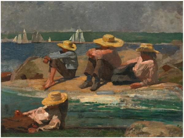 Lot 36. WINSLOW HOMER 1836 - 1910 CHILDREN ON THE BEACH (WATCHING THE TIDE GO OUT; WATCHING THE BOATS) oil on canvas 12 5/8 by 16 1/2 in. 32.1 by 41.9 cm. Executed in 1873. Estimate: $3-5 million. Click on image to enlarge.