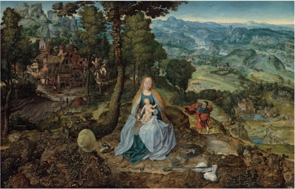 Lot 8. Antwerp School, circa 1530 An extensive landscape with the Rest on the Flight into Egypt with a coat-of-arms (lower right) oil on panel 32¼ x 49½ in. (81.8 x 125.9 cm.) Estimate: £400,000-600,000. Click on image to enlarge.