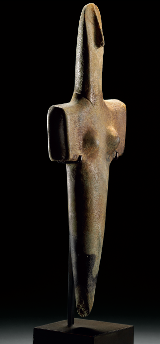 Lot 85. A SARDINIAN MARBLE FEMALE IDOL OZIERI CULTURE, CIRCA 2500-2000 B.C. 13 ¾ in. (34.9 cm.) long Estimate: $800,000-1,200,000. Provenance with Harmon Fine Arts, New York. with The Merrin Gallery, New York, 1990 (Masterpieces of Cycladic Art, no. 27). Acquired by the current owner, 1997.