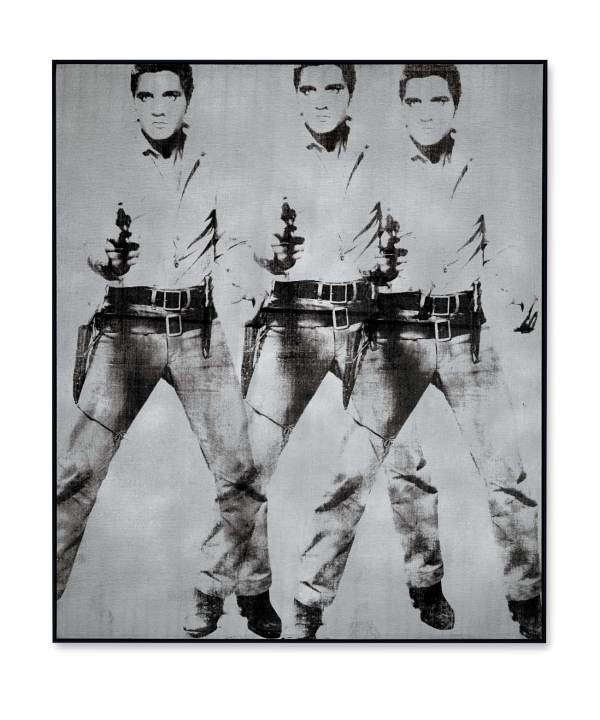 Lot 9. Andy Warhol (1928-1987) Triple Elvis [Ferus Type] signed, titled and dated 'elvis Andy Warhol 63' (on the reverse) silkscreen ink and silver paint on linen 82 x 69 in. (208.3 x 175.3 cm.) Painted in 1963. Estimate: approximately $65 million. Click on image to enlarge.