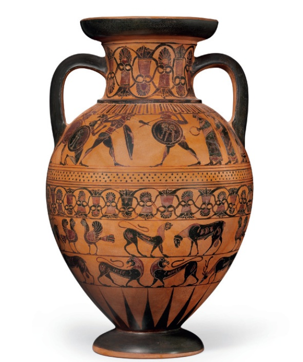 Lot 91. AN ATTIC BLACK-FIGURED TYRRHENIAN AMPHORA ATTRIBUTED TO THE CASTELLANI PAINTER, CIRCA 550 B.C. 18 in. (45.7 cm.) high Estimate: $120,000-180,000. Provenance P. Conradty, Nuremburg, 1980.  with Galleria Serodine, Ascona, 1998. with Charles Ede, London, 2005. with Royal-Athena Galleries, New York 2008 (Art of the Ancient World, vol. XIX, no. 109).