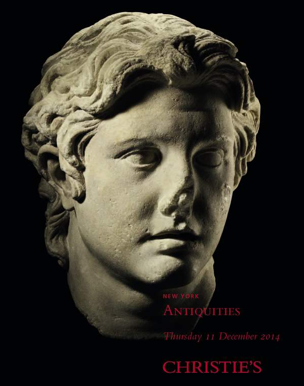 Cover image of Christie's Antiquities Auction in New York, December 11, 2014.  The object show, Lot 140, a 1st century AD Roman marble portrait of Alexander the Great, has a provenance dating only to 1986. Click on image to enlarge.