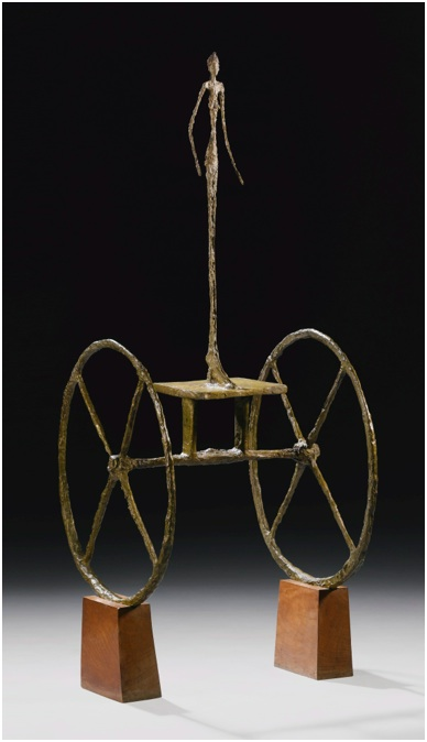 Lot 25. ALBERTO GIACOMETTI 1901 - 1966 CHARIOT Inscribed with the signature A. Giacometti, with foundry mark Alexis Rudier Fondeur Paris and numbered  2/6 Painted bronze on wooden base Height: 57 in. 144.7 cm Conceived in 1950 and cast in 1951-52. This lot sold for a hammer price of $ ($ including the buyer's premium).