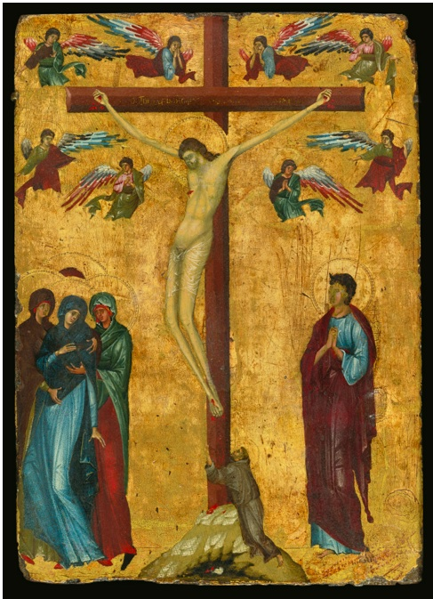 Lot 12. MASTER OF THE LATIN BIBLE 18, POSSIBLY IDENTIFIABLE AS JACOPINO DA REGGIO, PAINTED CIRCA 1285 ACTIVE IN BOLOGNA CIRCA 1269 - 1300 THE CRUCIFIXION WITH SAINT FRANCIS tempera on panel, gold ground 10 by 7 1/8  in.; 25.3 by 18.1 cm. Estimate: $1.8-2.5 million.