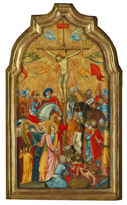 Lot 15. JACOPINO AND BARTOLOMEO DA REGGIO ACTIVE IN REGGIO EMILIA IN THE MID-14TH CENTURY THE CRUCIFIXION, CIRCA 1345-1350 tempera on marouflaged panel, gold ground, arched top overall: 19 1/8  by 11 in.; 48.5 by 28 cm.;  painted surface: 18 1/8  by 9 7/8  in.; 46.5 by 25.5 cm. Estimate: $1.0-1.5 million.