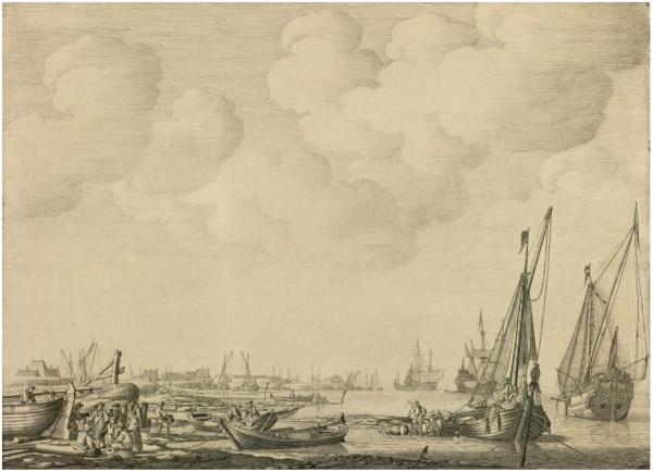 "Lot 32. WILLEM VAN DE VELDE THE ELDER LEIDEN 1611 - 1693 LONDON DUTCH HARBOR IN A CALM WITH SMALL VESSELS INSHORE AND BEACHED AMONG FISHERMEN, A KAAG AT ANCHOR, A STATES YACHT AND MEN O'WAR OFFSHORE:  A ""PENSCHILDERIJ"" signed lower center W.V.Velde pen, ink and oil on panel 18 7/8  by 25 1/2 inches; 47.9 by 65 cm. Estimate: $2-3 million. Click on image to enlarge."