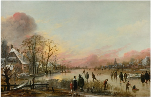 Lot 35. AERT VAN DER NEER AMSTERDAM CIRCA 1603/4 - 1677 FROZEN RIVER AT SUNSET signed with the double monogram by the fencepost left of center: AV  DN  oil on oak panel 18 1/4  by 27 5/8  in.; 46.2 by 70.2 cm.   Estimate: $4-6 million. Click on image to enlarge.