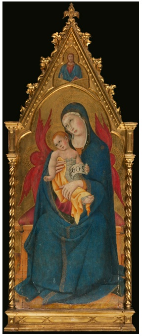 Lot 5. SANO DI PIETRO SIENA 1405-1481 THE MADONNA AND CHILD ENTHRONED, ABOVE THEM CHRIST PANTOCRATOR tempera on panel, gold ground, with a shaped top overall: 66 1/2 by 24 7/8  in.; 169 by 63.1 cm.; painted surface: 59 1/8  by 23 in.; 150.3 by 58.4 cm. Estimate: $400,000-600,000.