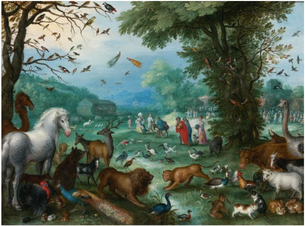 Lot 54. JAN BRUEGHEL THE ELDER BRUSSELS 1568 - 1625 ANTWERP PARADISE LANDSCAPE WITH THE ANIMALS ENTERING NOAH'S ARK signed and dated lower left:  BRVEGHEL 1596 also signed or inscribed by scratching into the copper on the reverse of the plate:  1596/Brueghel oil on copper 10 3/8  by 14 in.; 26.5 by 35.6 cm. Estimate: $3.5-4.5 million. Click on image to enlarge.