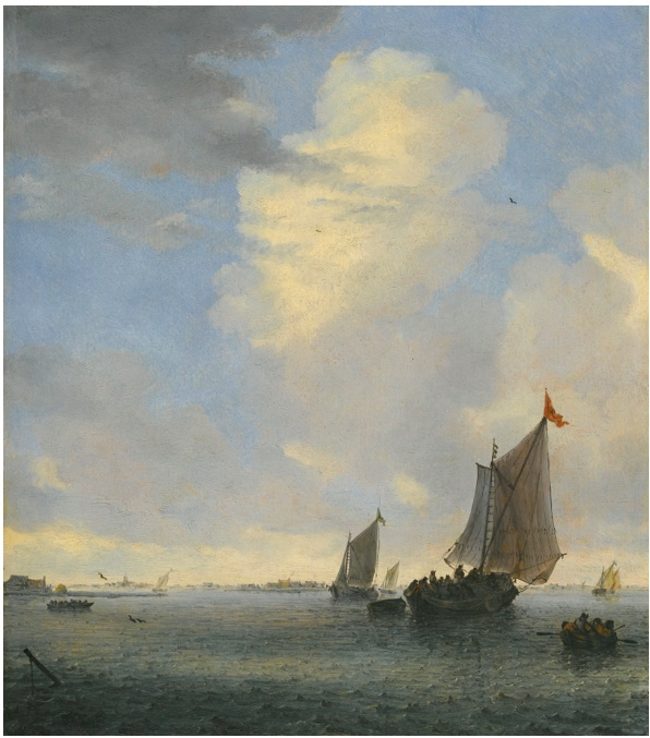 Lot 60. SALOMON VAN RUYSDAEL NAARDEN 1600/3 - 1670 HAARLEM WIJDSCHIP AND OTHER SMALL DUTCH VESSELS AT THE MOUTH OF AN ESTUARY signed with initials on the flag of the Wijdschip: SVR oil on oak panel 14 1/4  by 12 3/4  in.; 36.1 by 32.3 cm. Estimate: $3-4 million.