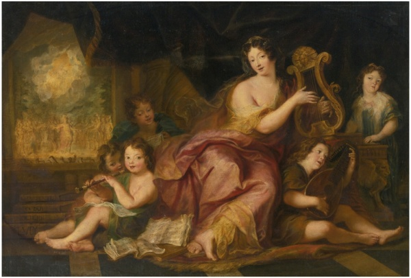 Lot 87. ANTOINE COYPEL PARIS 1661 - 1722 ALLEGORY OF MUSIC (A PORTRAIT OF MME. DE MAINTENON WITH THE NATURAL CHILDREN OF LOUIS XIV) oil on canvas 38 5/8  by 59 7/8  inches; 98 by 152 cm.  Estimate: $1.5-2 million. Click on image to enlarge.