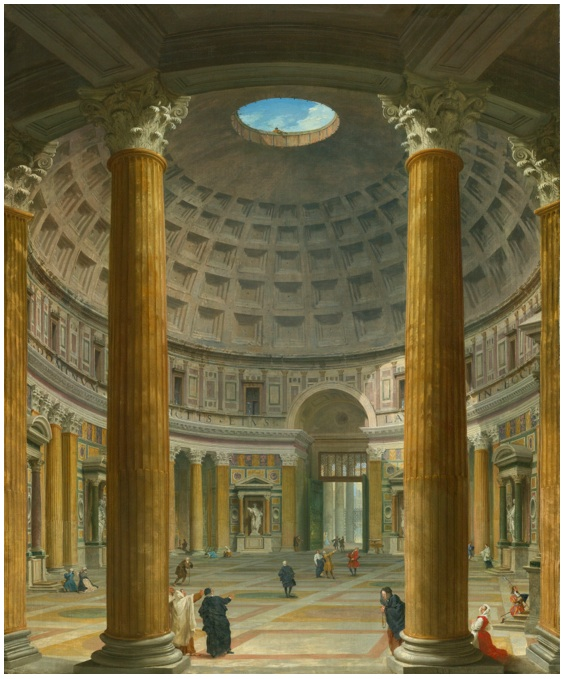 Lot 91. GIOVANNI PAOLO PANINI PIACENZA 1691 - 1765 ROME ROME, THE PANTHEON, A VIEW OF THE INTERIOR TOWARDS THE PIAZZA DELLA ROTONDA signed with initials and dated at the foot of the column lower right: I.P.P. 1732 oil on canvas 46 7/8 by 38 3/4  in.; 119 by 98.4 cm. Estimate: $3-5 million.