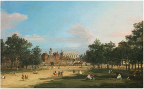 Lot 98. GIOVANNI ANTONIO CANAL, CALLED CANALETTO VENICE 1697 - 1768 LONDON, A VIEW OF THE OLD HORSE GUARDS AND BANQUETING HALL, WHITEHALL SEEN FROM ST. JAMES' PARK oil on canvas 18 5/8  by 30 1/4  in.; 47.3 by 76.8 cm. Estimate: $4-6 million. Click on image to enlarge.