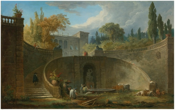 Lot 83. HUBERT ROBERT PARIS 1733 - 1808 VILLA FARNESE WITH GARDENS AT CAPRAROLA signed at the base of the staircase: INVE / ROBERT oil on canvas 18 by 28 in.;  45.5 by 71.5 cm.  Estimate: $300,000-500,000. Click on image to enlarge.