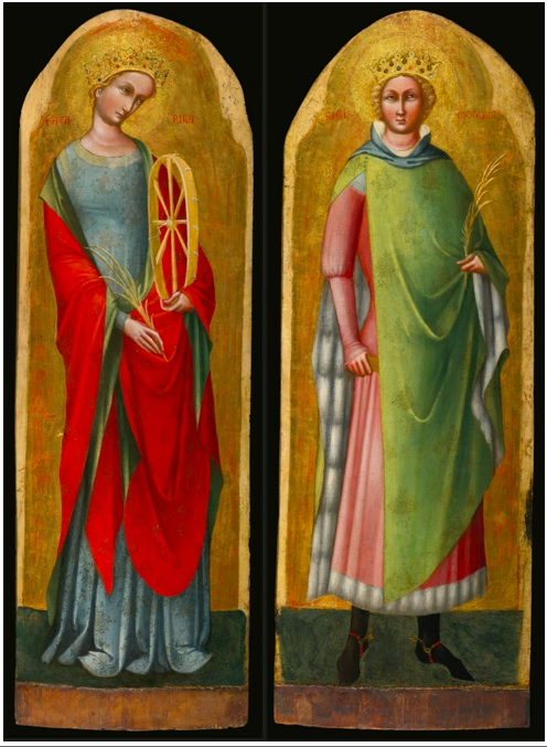 Lot 116. LORENZO VENEZIANO ACTIVE IN VENICE CIRCA 1356 - 1379 SAINT CATHERINE OF ALEXANDRIA AND SAINT SIGISMUND OF BURGUNDY, CIRCA 1368 Quantity: 2 inscribed on either side of the figures' heads: CATA / RINA and SIGIS / MONDO respectively a pair, both tempera on panel, gold ground, with arched tops Saint Catherine: 38 7/8  by 12 7/8  in.; 99 by 33 cm.; Saint Sigismund: 38 1/2  by 13 3/4  in.; 98 by 35 cm. Estimate: $600,000-800,000.