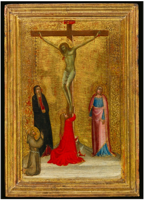 Lot 126. SIENESE OR NEAPOLITAN SCHOOL, MID-14TH CENTURY THE CRUCIFIXION WITH THE MADONNA, SAINT JOHN THE EVANGELIST, MARY MAGDALENE AND SAINT FRANCIS OF ASSISI tempera on panel, gold ground, in an engaged frame and painted on the reverse 17 3/8  by 11 7/8  in.; 44.2 by 30.2 cm. Estimate: $180,000-220,000.