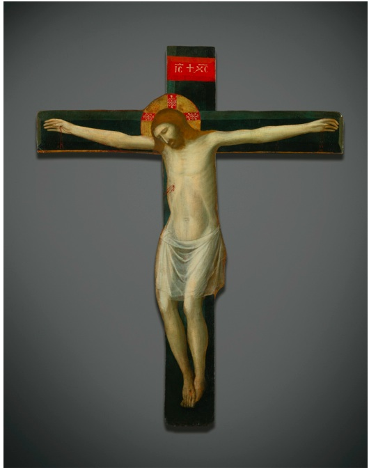 Lot 131. GIOVANNI DA RIMINI ACTIVE IN RIMINI 1292 - 1336 PAINTED CRUCIFIX tempera on cruciform panel 63 1/4  by 52 3/8  in.; 160.5 by 130 cm. Estimate: $250,000-350,000.