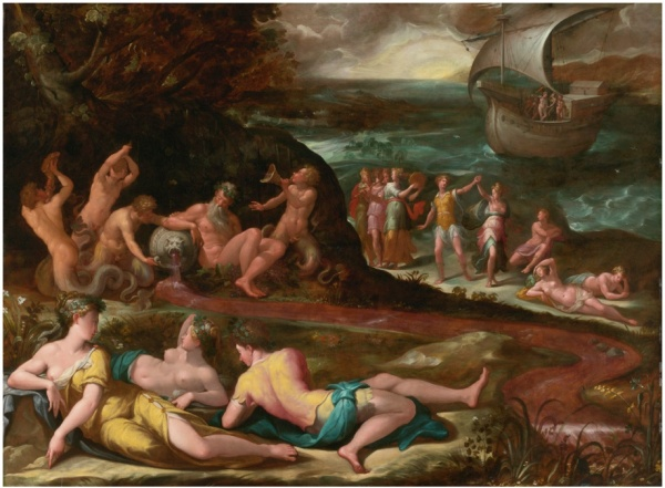Lot 137. GIROLAMO MACCHIETTI FLORENCE 1535 - 1592 THE BACCHANAL OF THE ANDRIANS oil on panel 51 1/2  by 69 in.; 131 by 175 cm. Estimate: $800,000-1,200,000. Click on image to enlarge.