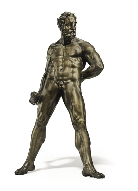 Lot 52. A BRONZE FIGURE OF HERCULES POMARIUS BY WILLEM DANIELSZ. VAN TETRODE (C. 1525-1580), THIRD QUARTER 16TH CENTURY On a later spreading ebonized wood plinth 15¼ in. (39 cm.) high; 21¼ in. (54 cm.) high, overall. Estimate: $1.5-2.5 million.
