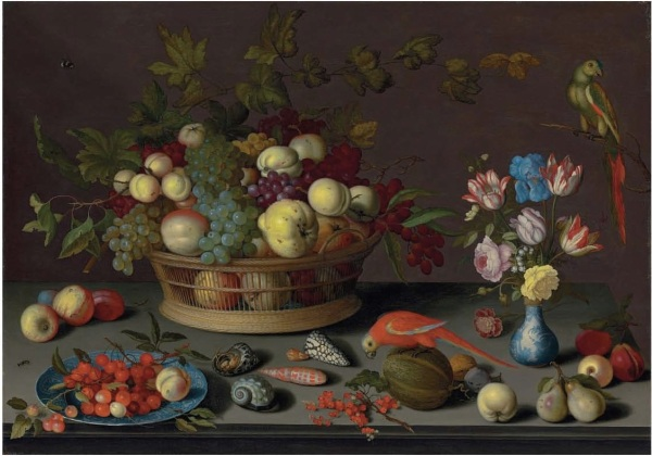 Lot 10. Balthasar van der Ast (Middelburg ?1593/4-1657 Delft) Grapes and other fruit in a basket, cherries and a peach on a Delft plate, tulips, irises and other flowers in a Wan-li vase, shells, and other fruit on a stone table, with parrots signed '• B• vander • ast ••' (lower center, on the ledge) oil on oak panel 29½ x 42 1/8 in. (75 x 107 cm.) Click on image to enlarge.