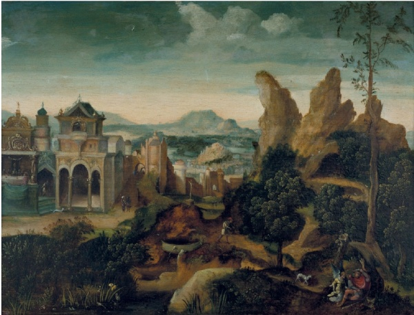 Lot 102. Herri met de Bles (Dinant c. 1510-after 1550 Antwerp) A mountainous landscape with the Feast of Herod and the Dream of Joseph oil on oak panel 10¾ x 14 3/8 in. (27.2 x 36.4 cm.) Estimate: $80,000-120,000. Click on image to enlarge.