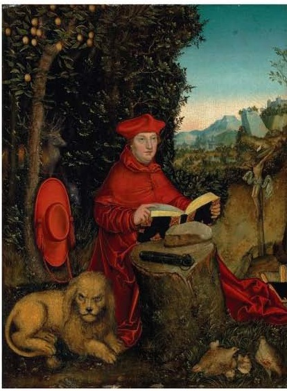 Lot 117. Lucas Cranach I (Kronach 1472-1553 Weimar) Cardinal Albrecht von Brandenburg as Saint Jerome in a landscape indistinctly signed with remains of the artist's serpent device (lower left) oil on oak panel 19½ x 14 5/8 in. (49.5 x 37.1 cm.). Estimate: $1-1.5 million.