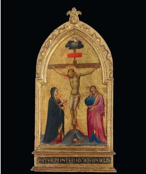 Lot 136. The Master of the Misericordia (Florence, active mid-14th Century) The Crucifixion with the Madonna and Saint John the Evangelist tempera and gold on poplar panel, shaped top, in an engaged frame 23 7/8 x 12¼ in. (60.6 x 31 cm.) inscribed 'PATER•NOSTER•QVIES•INCIELIS' (lower center, on the frame) and with inventory number '12' (on the reverse). Estimate: $350,000-500,000.