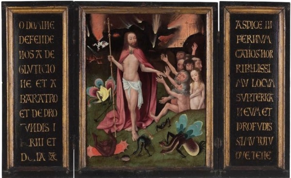 Lot 142. Circle of Hieronymus Bosch (? c. 1450-1516 's Hertogenbosch) A triptych: The Harrowing of Hell extensively inscribed on the wings oil and gold on oak panel open 25¼ x 41 1/8 in. (64.2 x 104.5 cm.); closed 25¼ x 20½ in. (64.2 x 52.1 cm.) Estimate: $300,000-500,000. Click on image to enlarge.