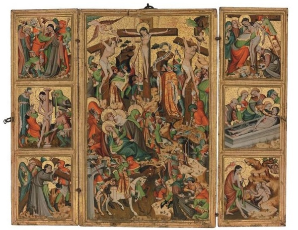 Lot 154. Thuringian School, c. 1400 The Passion of Christ: The Arrest; The Flagellation; Christ on the road to Calvary; The Crucifixion; The Descent; The Entombment; The Descent into Limbo tempera and gold on panel 32½ x 41 1/8 in. (82.5 x 104.5 cm.); the central panel: 32½ x 20½ in. (82.5 x 52.2cm.); the wings: each 32½ x 10 1/8 in. (82.5 x 25.7 cm.) inscribed 'vere filius dei erat iste' (upper center, on the scroll) Estimate: $1.2-1.8 million. Click on image to enlarge.