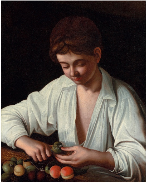 Lot 16. Michelangelo Merisi da Caravaggio (Milan or Caravaggio 1571-1610 Porto Ercole) Boy peeling a fruit oil on canvas 25¾ x 20 7/8 in. (65.4 x 52.9 cm.) Estimate: $3-5 million.