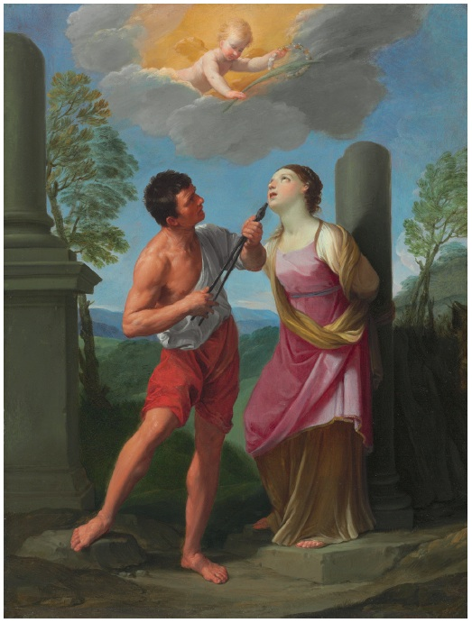 Lot 22. Guido Reni (Bologna 1575-1642) The Martyrdom of Saint Apollonia oil on copper 17 3/8 x 13¼ in. (44.1 x 33.6 cm.) Estimate: $1.2-1.8 million.