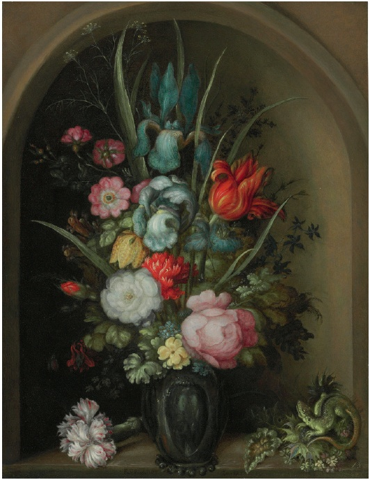 Lot 28. Roelandt Savery (Kortrijk 1576-1639 Utrecht) Irises, lilies, wallflowers, forget-me-nots, roses, and other flowers in a glass vase with a lizard and sea holly in a stone niche signed 'ROELANDT SAVERY ...' (lower center, on the ledge) oil on copper 12 x 9¼ in. (30.5 x 23.5 cm.) Estimate: $300,000-500,000.