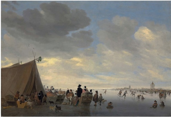 Lot 4. Salomon van Ruysdael (Naarden? 1600/03-1670 Haarlem) Skaters on the frozen river Lek, the town of Vianen beyond signed with monogram 'S.VR' and dated '1653' (on the back of the central carriage) oil on canvas 29¾ x 43 3/8 in. (75.2 x 110 cm.) Estimate: $800,000-1,200,000. Click on image to enlarge.