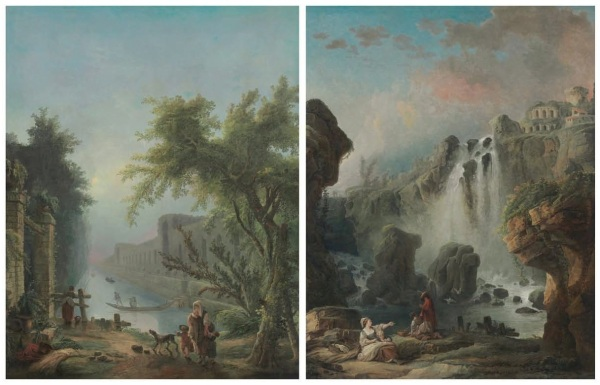 Lot 53. Hubert Robert (Paris 1733-1808) The Canal; and The Cascade the first signed and dated 'H. Robert / 1774' (lower left, on the flower pot) oil on canvas each 96¼ x 75¼ (244.5 x 191.1 cm.) a pair Estimate: $2-3 million. Click on image to enlarge.