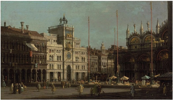 Lot 55. Giovanni Antonio Canal, called Canaletto (Venice 1697 -1768) The Piazza San Marco: the Northeast Corner, and The Piazzetta: looking East, with the Ducal Palace oil on canvas each 8 x 16 in. (20 x 41 cm.) (2)a pair Estimate: $3-5 million. Click on image to enlarge.