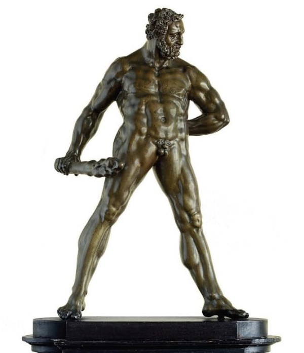 Lot 52. A BRONZE FIGURE OF HERCULES POMARIUS BY WILLEM DANIELSZ. VAN TETRODE (C. 1525-1580), THIRD QUARTER 16TH CENTURY On a later spreading ebonized wood plinth 15¼ in. (39 cm.) high; 21¼ in. (54 cm.) high, overall. Estimate: $1.5-2.5 million. Click on image to enlarge.