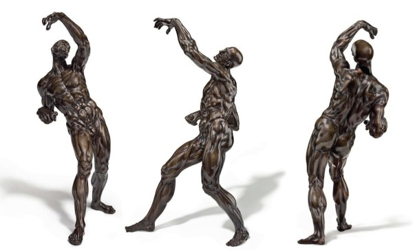 Lot 71. A BRONZE FIGURE OF AN ECORCHE MAN BY WILLEM DANIELSZ. VAN TETRODE (C. 1525-1580), CIRCA 1562-67 On a later rectangular oak plinth 17 1/8 in. (43.5 cm.) high; 19 in. (48.2 cm.) high, overall. Estimate: $1.5-2.5 million. Click on image to enlarge.