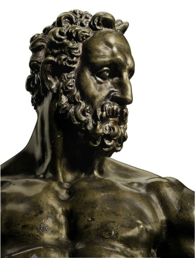 Lot 52. A BRONZE FIGURE OF HERCULES POMARIUS (Detail) BY WILLEM DANIELSZ. VAN TETRODE (C. 1525-1580), THIRD QUARTER 16TH CENTURY On a later spreading ebonized wood plinth 15¼ in. (39 cm.) high; 21¼ in. (54 cm.) high, overall. Estimate: $1.5-2.5 million.