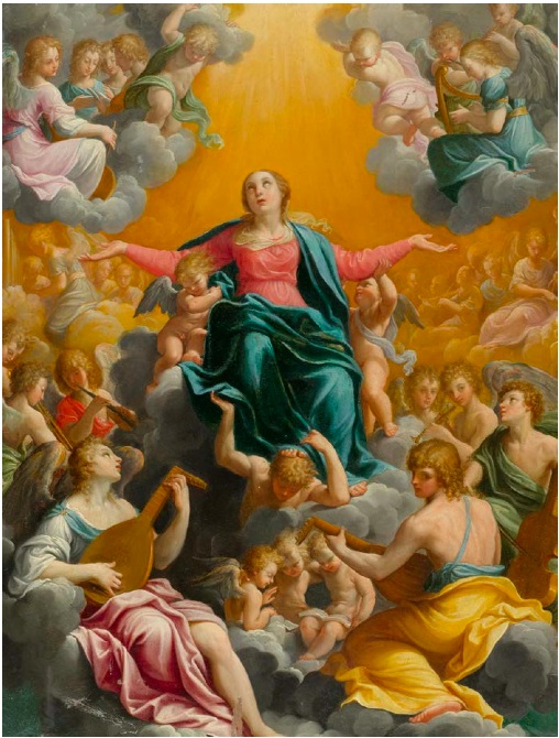 RENI, GUIDO (Calvenzano 1575 - 1642 Bologna) Assumption of Mary. Around 1596-97. Oil on copper. 58 x 44.4 cm.