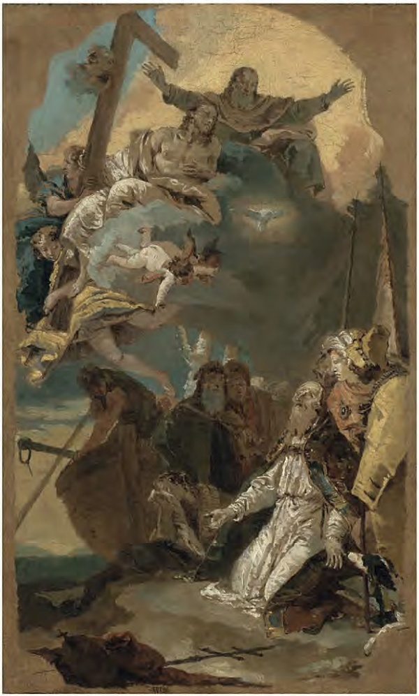 Giovanni Battista Tiepolo (1696 - 1770) The Holy Trinity appearing to Saint Clement Oil on canvas: 22.22 x 12.48 inches.