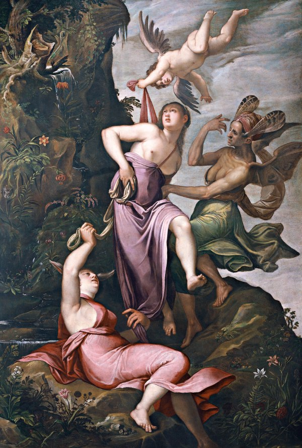 Jacopo Ligozzi Verona circa 1547-1627 Florence The Allegory of Virtue, Love Defending Virtue against Ignorance and Predjudice Oil on canvas: 345 x 228 cms. (135 ½ x 89 ½ in.)  Click on image to enlarge.